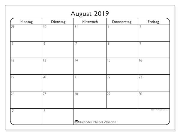 Kalender August 2019, 74MF. Monatlicher Zeitplan zum kostenlosen ausdrucken.