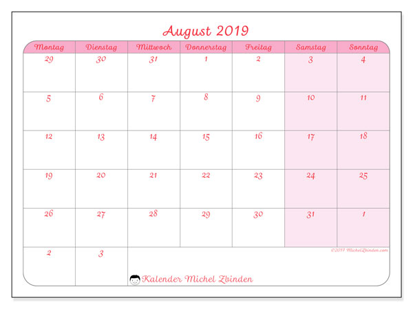 kalender august 2019 ms michel zbinden de. Black Bedroom Furniture Sets. Home Design Ideas