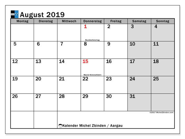 Kalender für August 2019, , mit Feiertagen des Kantons Aargau. Monatskalender zum kostenlosen ausdrucken.