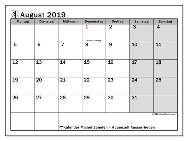 Kalender August 2019, mit den Feiertagen des Kantons Appenzell Ausserrhoden. Kalender mit Feiertagen zum kostenlosen ausdrucken.
