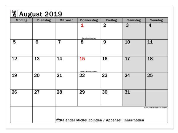 Kalender August 2019, mit den Feiertagen des Kantons Appenzell Innerrhoden. Kalender mit Feiertagen zum kostenlosen ausdrucken.