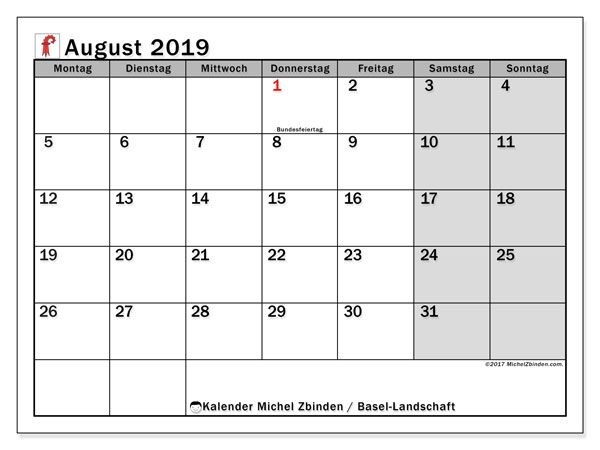 Kalender August 2019, mit den Feiertagen des Kantons Basel Landschaft. Kalender Feiertage frei zum ausdrucken.