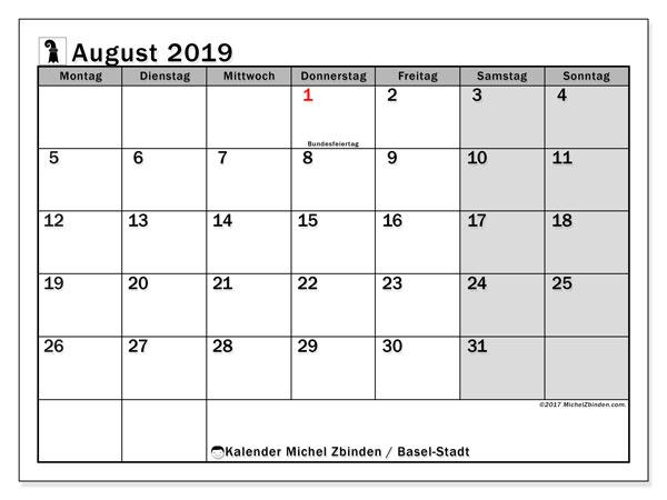 Kalender August 2019, mit den Feiertagen des Kantons Basel Stadt. Kalender mit Feiertagen zum kostenlosen ausdrucken.