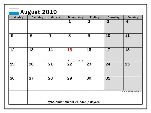 Kalender August 2019, mit den Feiertagen von Bayern. Kalender mit Feiertagen zum kostenlosen ausdrucken.