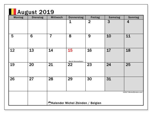 Kalender für August 2019, mit Feiertagen in Belgien. Kostenloser Kalender zum ausdrucken.