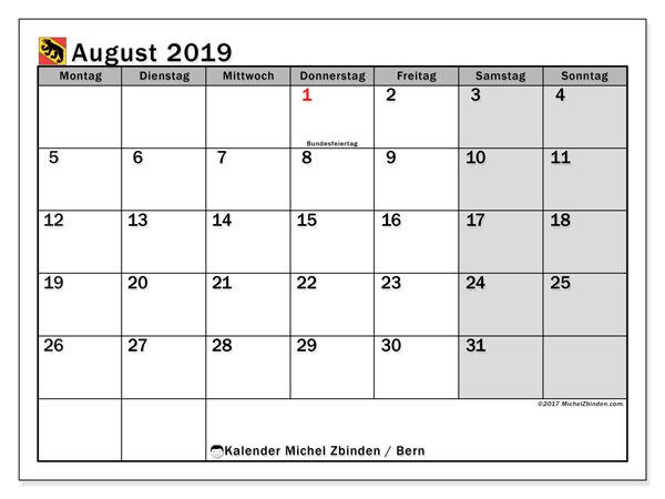 August 2019 Kalender  - Bern. Kalender zum drucken: Feiertage.