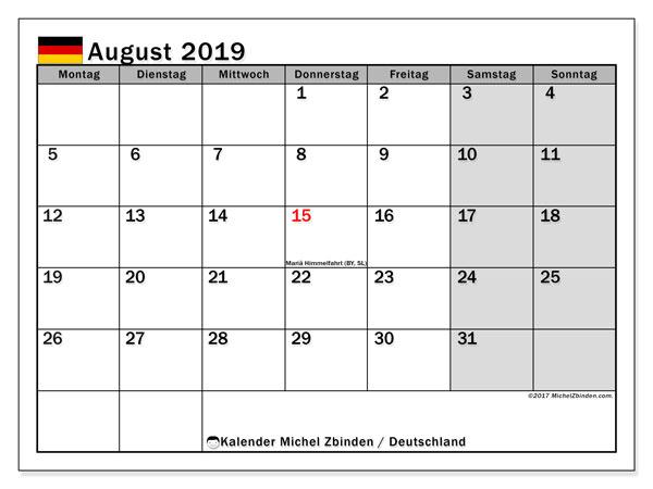 Kalender August 2019, mit den Feiertagen Deutschlands. Kalender Feiertage frei zum ausdrucken.