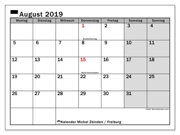 Kalender August 2019, mit den Feiertagen des Kantons Freiburg. Kalender Feiertage frei zum ausdrucken.