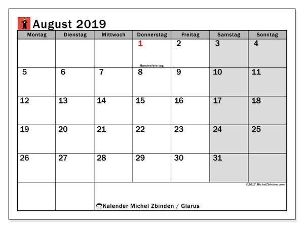 Kalender August 2019, mit den Feiertagen des Kantons Glarus. Kalender Feiertage frei zum ausdrucken.