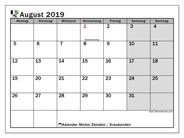 Kalender August 2019, mit den Feiertagen des Kantons Graubünden. Kalender mit Feiertagen zum kostenlosen ausdrucken.