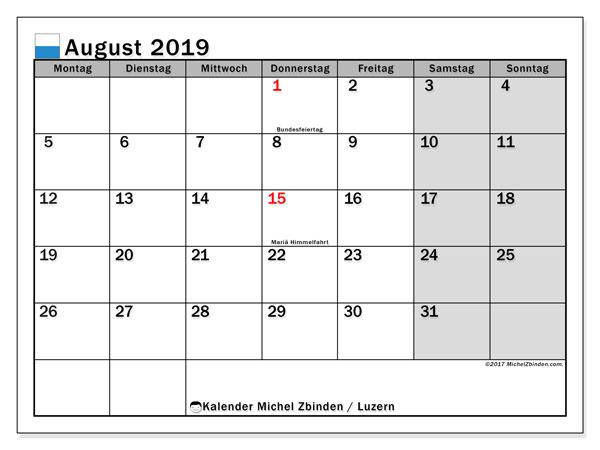 Kalender für August 2019, mit Feiertagen des Kantons Luzern. Monatlicher Zeitplan zum kostenlosen ausdrucken.