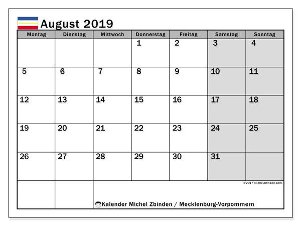 Kalender August 2019, mit den Feiertagen in Mecklenburg-Vorpommern. Kalender Feiertage frei zum ausdrucken.