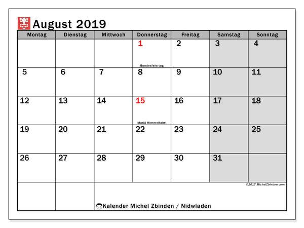 Kalender August 2019, mit den Feiertagen des Kantons Nidwalden. Kalender Feiertage frei zum ausdrucken.