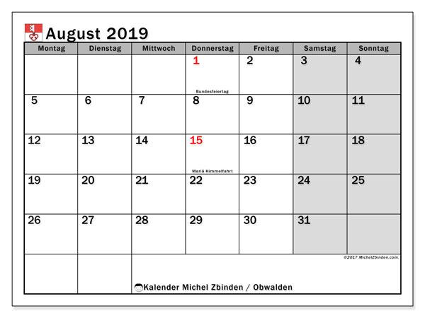 Kalender August 2019, mit den Feiertagen des Kantons Obwalden. Kalender mit Feiertagen zum kostenlosen ausdrucken.
