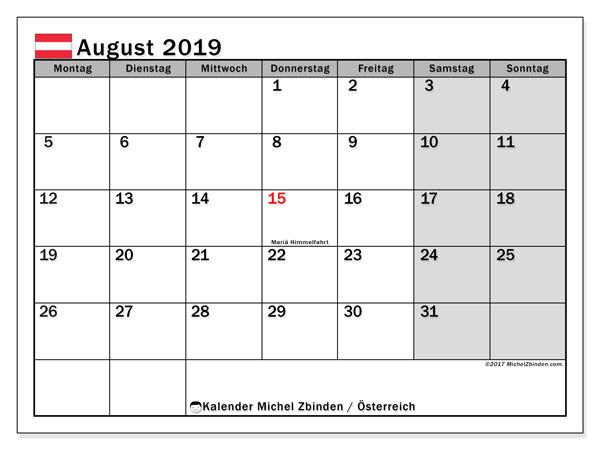 Kalender August 2019, mit den Feiertagen von Österreich. Kalender mit Feiertagen zum kostenlosen ausdrucken.