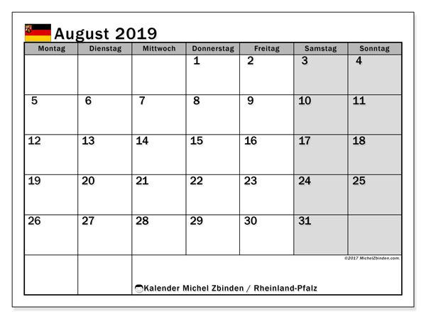 Kalender August 2019, mit den Feiertagen in Rheinland-Pfalz. Kalender mit Feiertagen zum kostenlosen ausdrucken.
