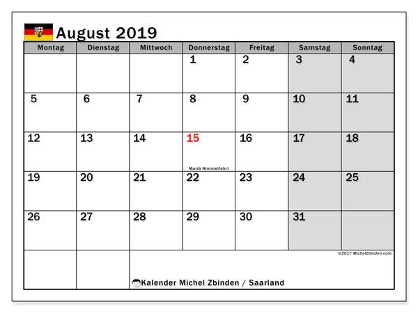 Kalender August 2019, mit den Feiertagen des Saarlandes. Kalender Feiertage frei zum ausdrucken.