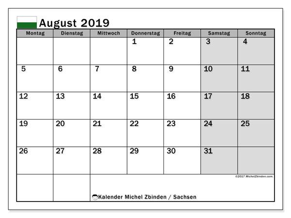 Kalender August 2019, mit den Feiertagen in Sachsen. Kalender mit Feiertagen zum kostenlosen ausdrucken.