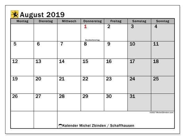 Kalender für August 2019, , mit Feiertagen des Kantons Schaffhausen. Kostenlos ausdruckbare Kalender.