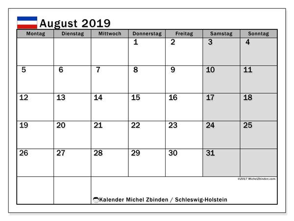 Kalender August 2019, mit den Feiertagen in Schleswig-Holstein. Kalender mit Feiertagen zum kostenlosen ausdrucken.