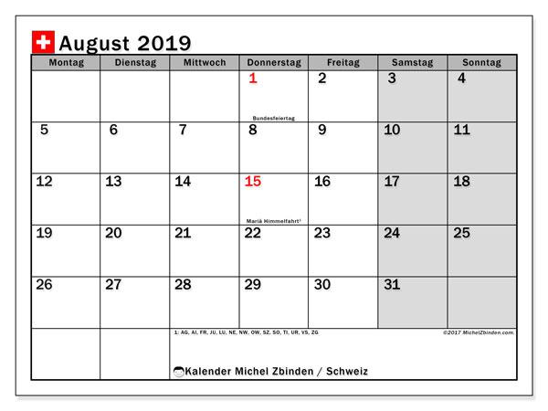 Kalender August 2019, mit den Feiertagen der  Schweiz. Kalender Feiertage frei zum ausdrucken.