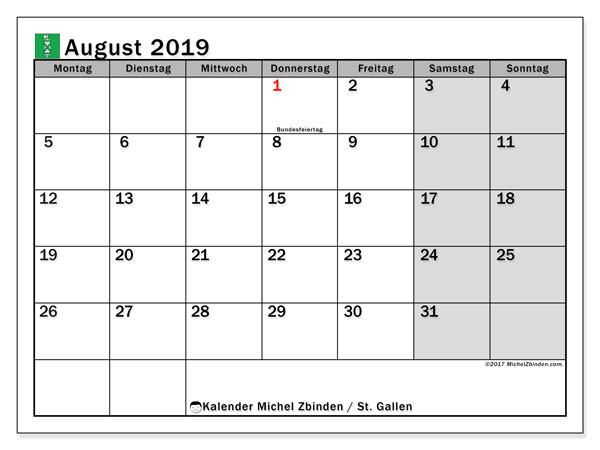 Kalender August 2019, mit den Feiertagen des Kantons St. Gallen. Kalender mit Feiertagen zum kostenlosen ausdrucken.