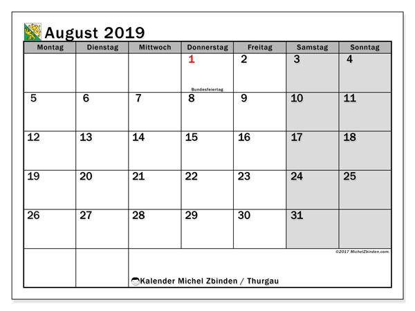 August 2019 Kalender  - Thurgau. Kalender zum drucken: Offizielle Feiertage.