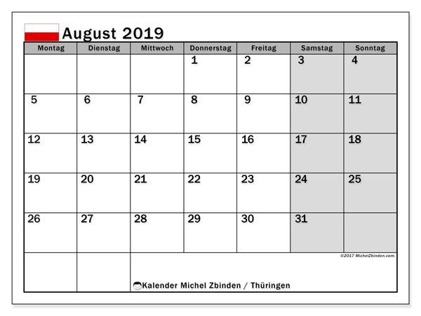 Kalender für August 2019, mit Feiertagen Thüringen. Kalender zum kostenlosen ausdrucken.