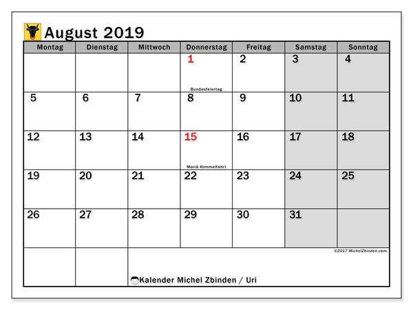 Kalender August 2019, mit den Feiertagen des Kantons Uri. Kalender mit Feiertagen zum kostenlosen ausdrucken.