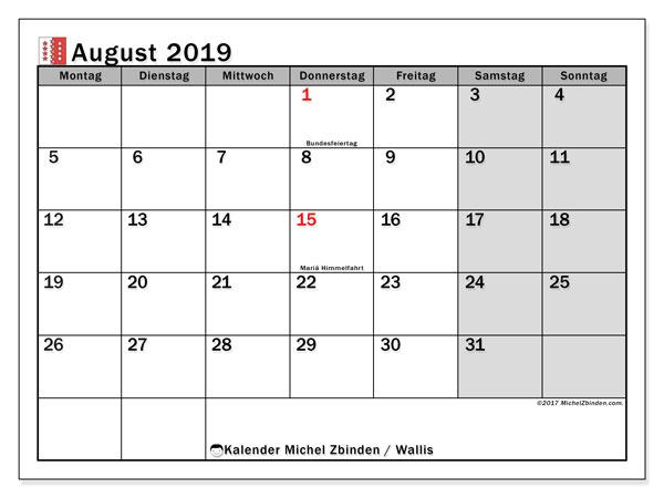 Kalender August 2019, mit den Feiertagen des Kantons Wallis. Kalender mit Feiertagen zum kostenlosen ausdrucken.