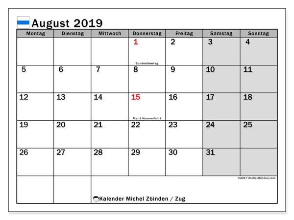 Kalender für August 2019, , mit Feiertagen des Kantons Zug. Planer zum kostenlosen ausdrucken.