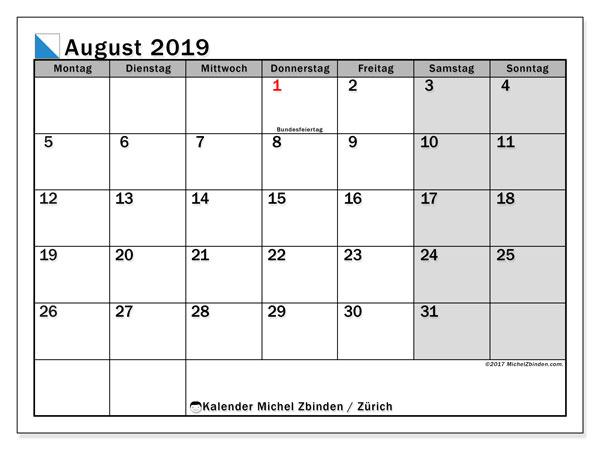 Kalender August 2019, mit den Feiertagen des Kantons Zürich. Kalender Feiertage frei zum ausdrucken.