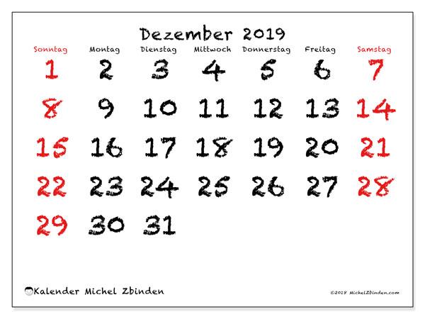 Kalender Dezember 2019, 46SS. Kostenlos ausdruckbare Kalender.