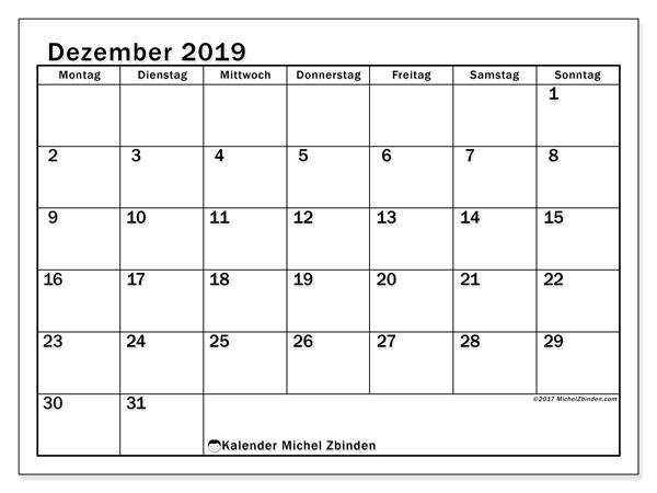 Kalender Dezember 2019, 50MS. Kalender zum kostenlosen ausdrucken.