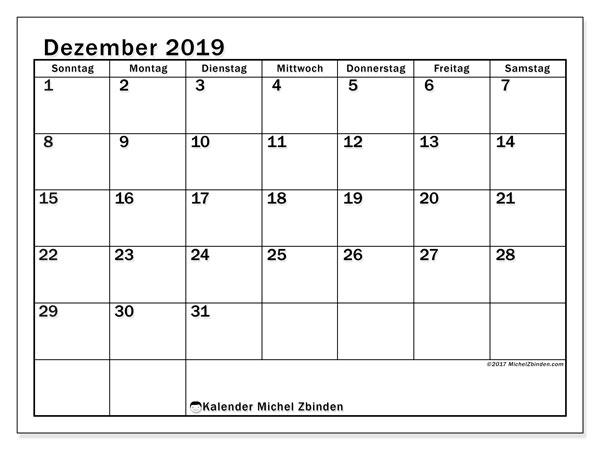 Kalender Dezember 2019, 50SS. Monatlicher Zeitplan zum kostenlosen ausdrucken.