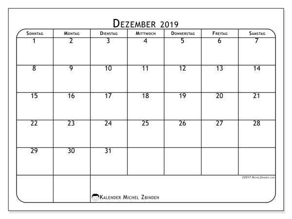 Kalender Dezember 2019, 51SS. Zeitplan zum kostenlosen ausdrucken.