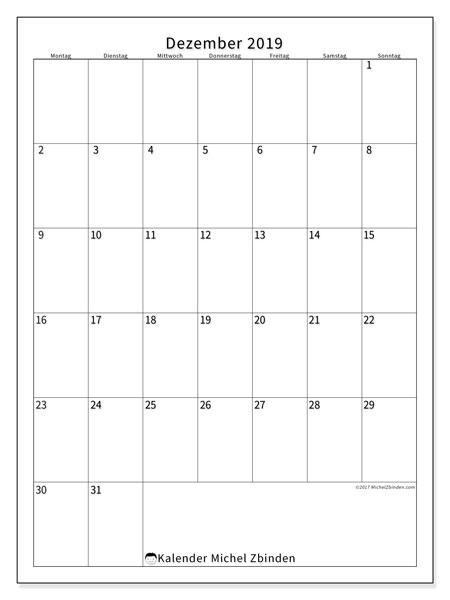 Kalender Dezember 2019, 52MS. Monatskalender zum kostenlosen ausdrucken.