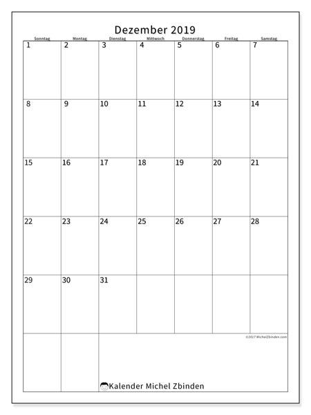 Kalender Dezember 2019, 52SS. Kalender zum kostenlosen ausdrucken.