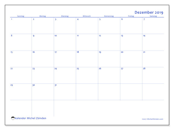 Kalender Dezember 2019, 55SS. Kostenlos ausdruckbare Kalender.