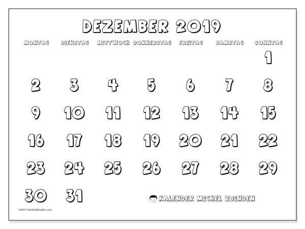 Kalender Dezember 2019, 56MS. Kostenlos ausdruckbare Planer.