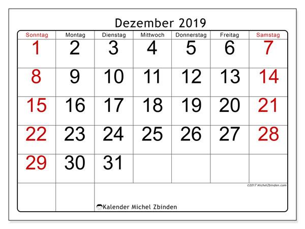 Kalender Dezember 2019, 62SS. Kostenloser Planer zum ausdrucken.