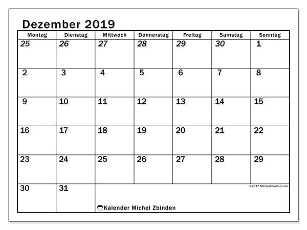 Kalender Dezember 2019, 66MS. Kalender zum kostenlosen ausdrucken.