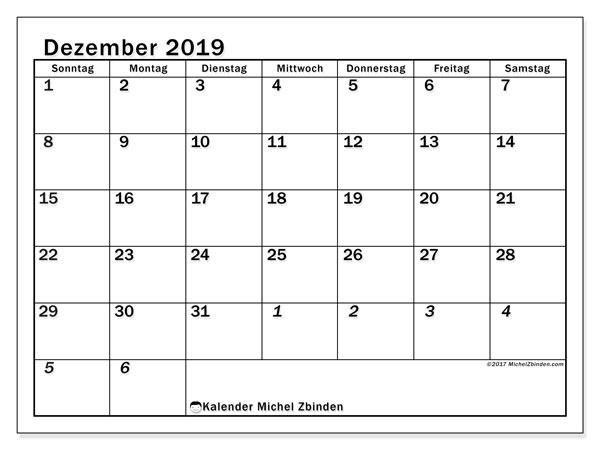 Kalender Dezember 2019, 66SS. Kostenloser Planer zum ausdrucken.