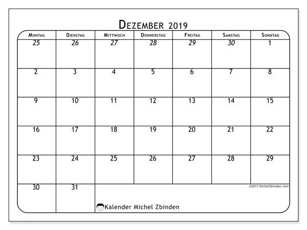 Kalender Dezember 2019, 67MS. Kostenlos ausdruckbare Planer.