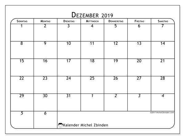 Kalender Dezember 2019, 67SS. Planer zum kostenlosen ausdrucken.