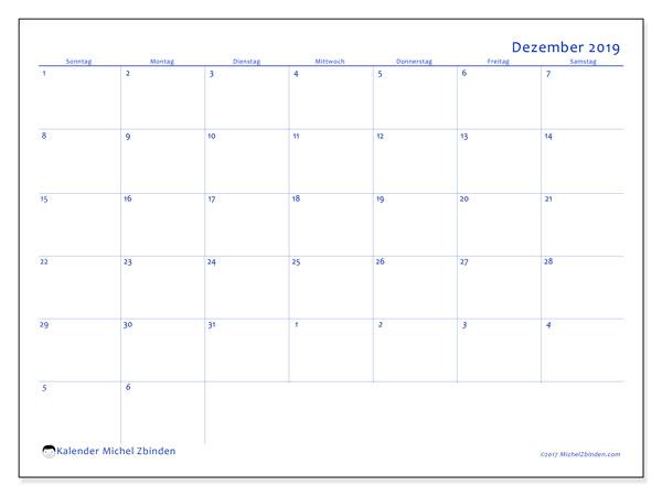 Kalender Dezember 2019, 73SS. Monatlicher Zeitplan zum kostenlosen ausdrucken.