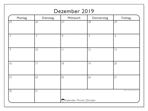 Kalender Dezember 2019, 74SS. Kostenloser Zeitplan zum ausdrucken.