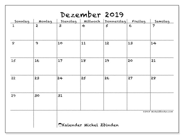 Kalender Dezember 2019, 77SS. Kostenloser Kalender zum ausdrucken.