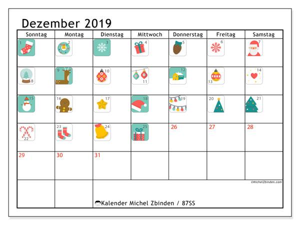 Kalender Dezember 2019, 87SS. Adventskalender. Zeitplan zum kostenlosen ausdrucken.