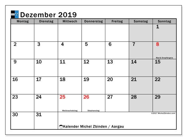 Kalender Dezember 2019, mit den Feiertagen des Kantons Aargau. Kalender Feiertage frei zum ausdrucken.